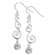 Sterling Silver blue topaz swirly drop Earrings
